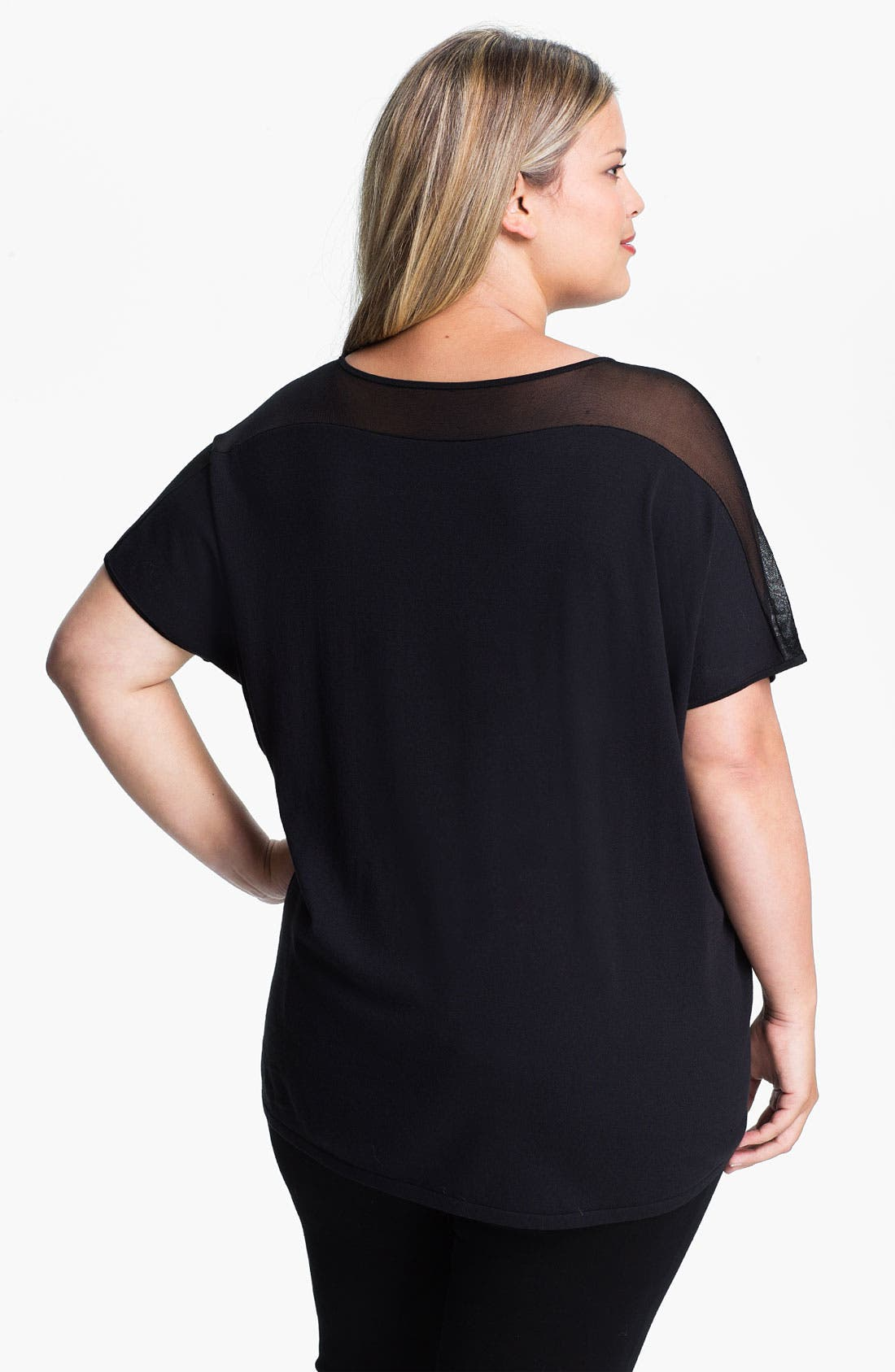 Alternate Image 2  - Lafayette 148 New York Mesh Detail Top (Plus)