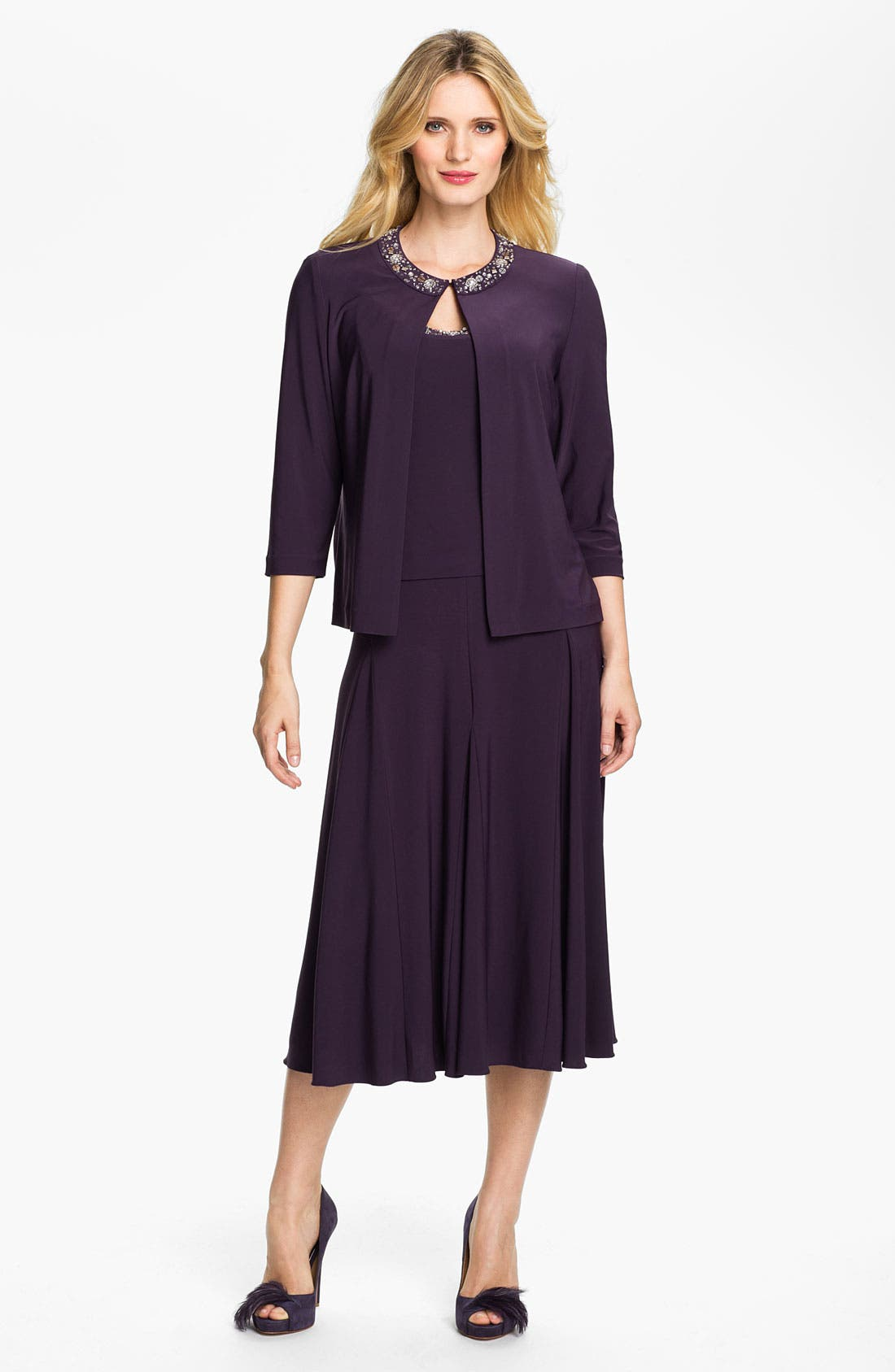Main Image - Alex Evenings Beaded Jersey Dress & Jacket