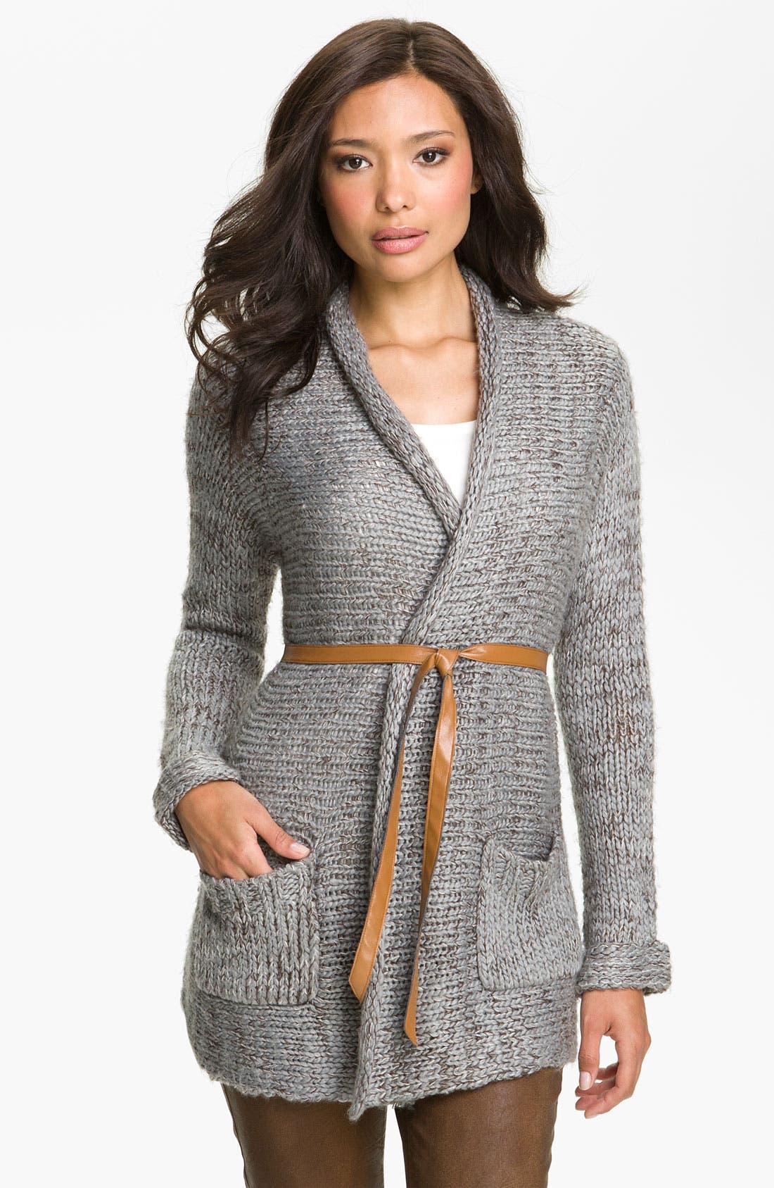 Main Image - Payton Belted Long Cardigan (Petite)