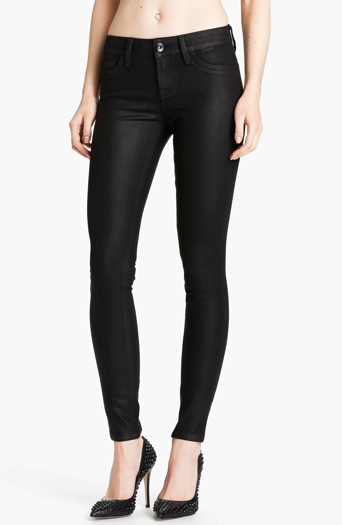 Main Image - DL1961 'Amanda' Coated Denim Skinny Jeans (Hematite)
