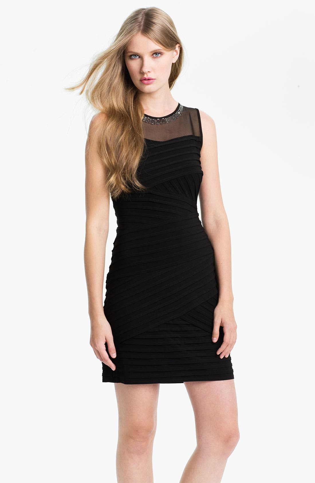 Alternate Image 1 Selected - Calvin Klein Illusion Yoke Pleated Sheath Dress