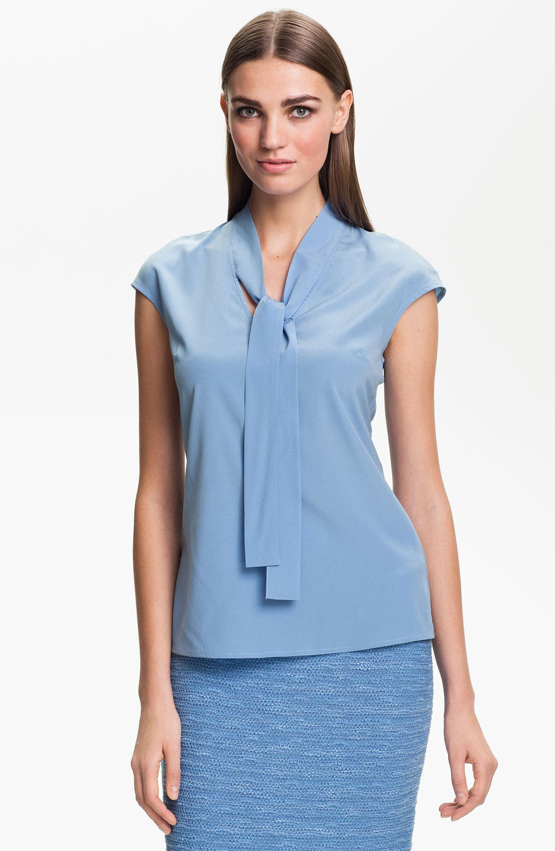 Main Image - St. John Collection Cap Sleeve Crepe Top