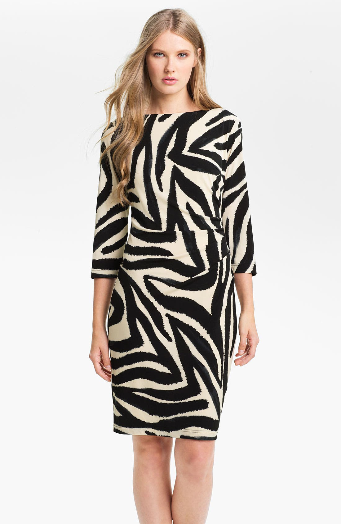 Main Image - Eliza J Three Quarter Sleeve Side Drape Jersey Dress