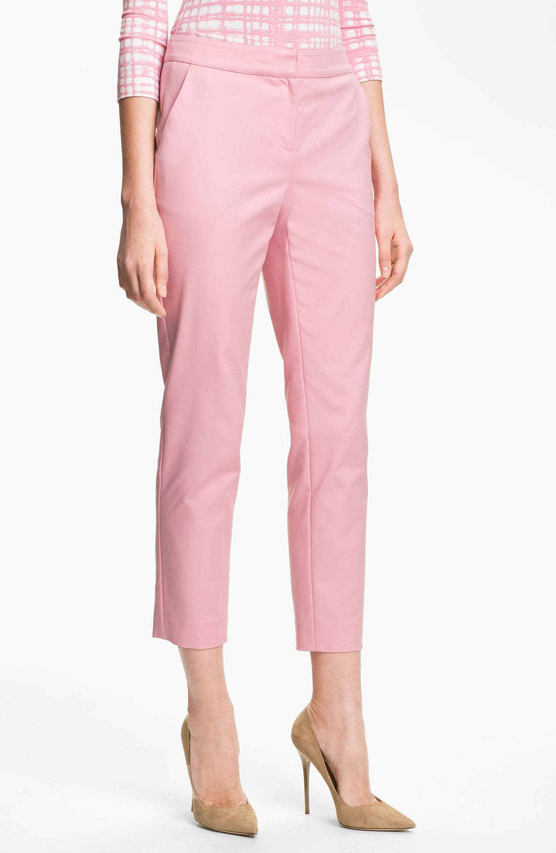 Main Image - St. John Collection 'Emma' Stretch Cotton Crop Pants