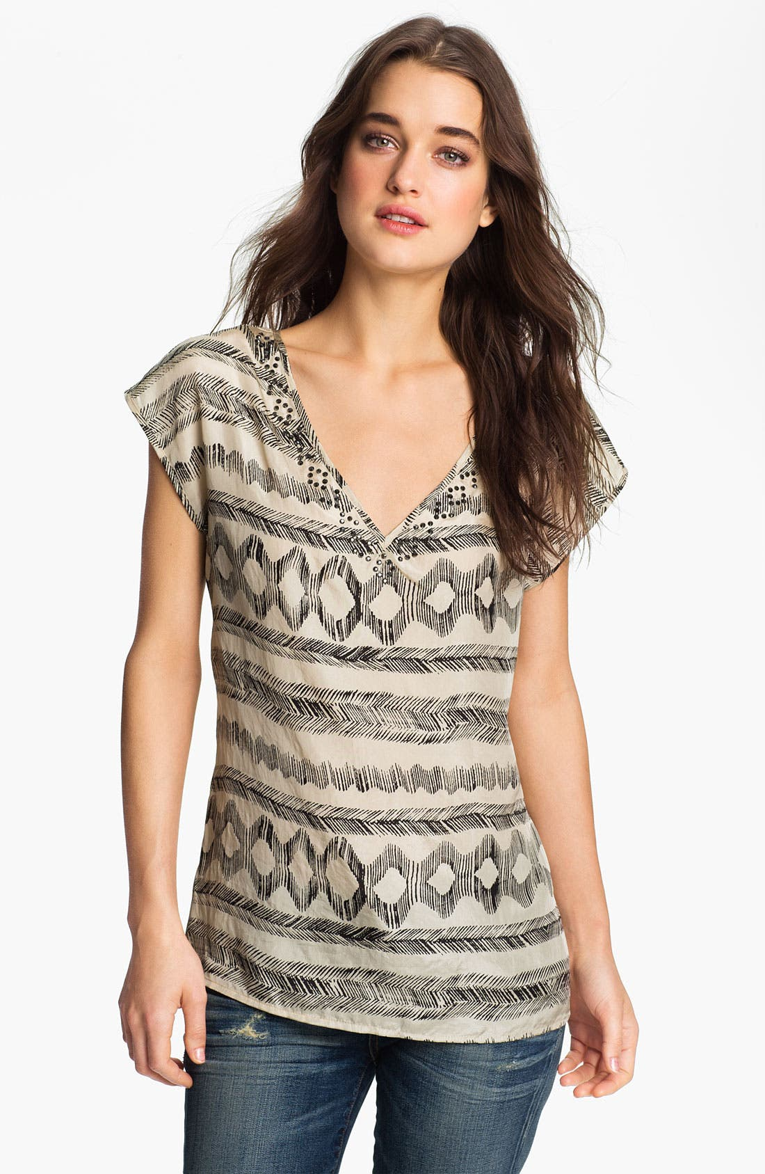 Main Image - Velvet by Graham & Spencer Embellished Print Top