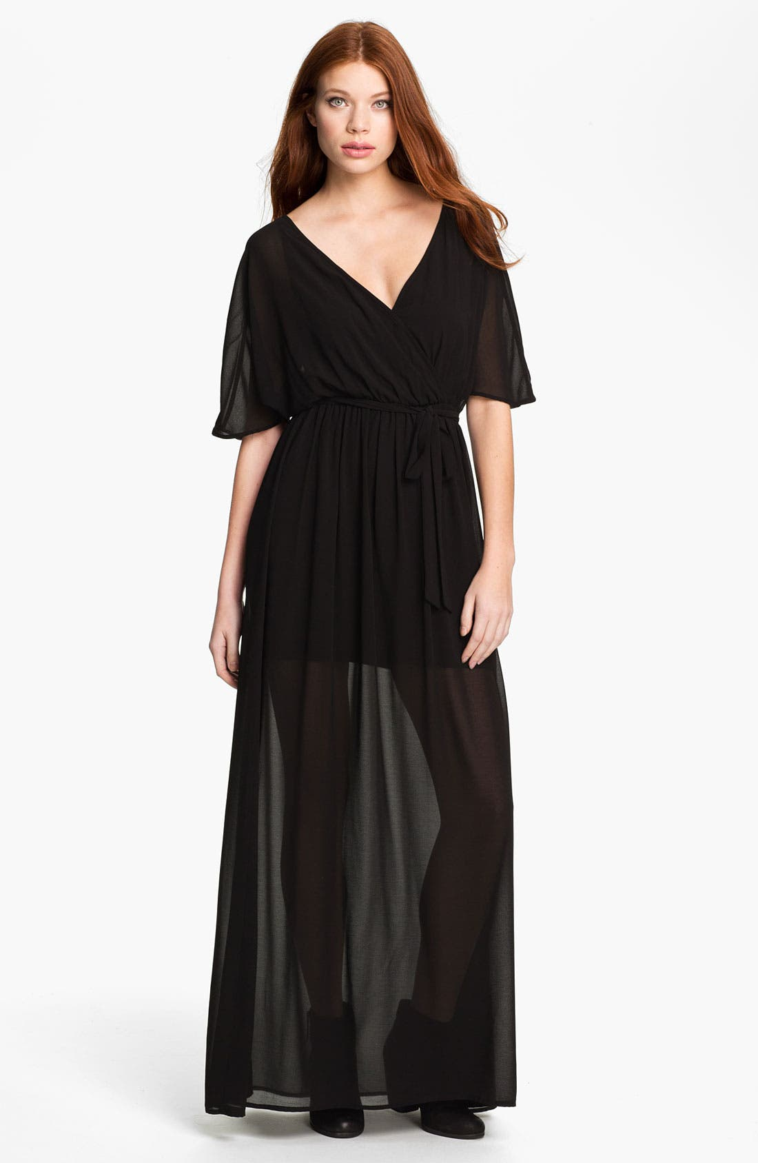 Alternate Image 1 Selected - Felicity & Coco Sheer Overlay Faux Wrap Maxi Dress (Nordstrom Exclusive)