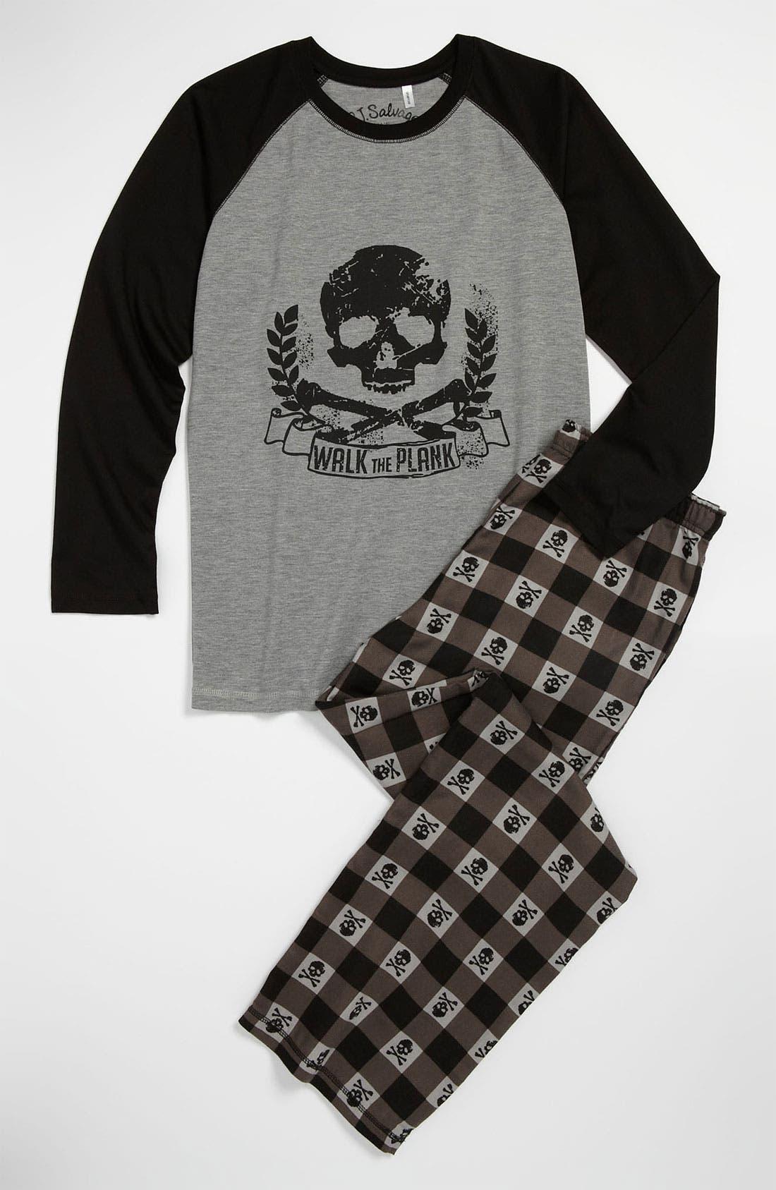 Alternate Image 1 Selected - PJ Salvage 'Skull' Two Piece Pajamas (Big Boys)