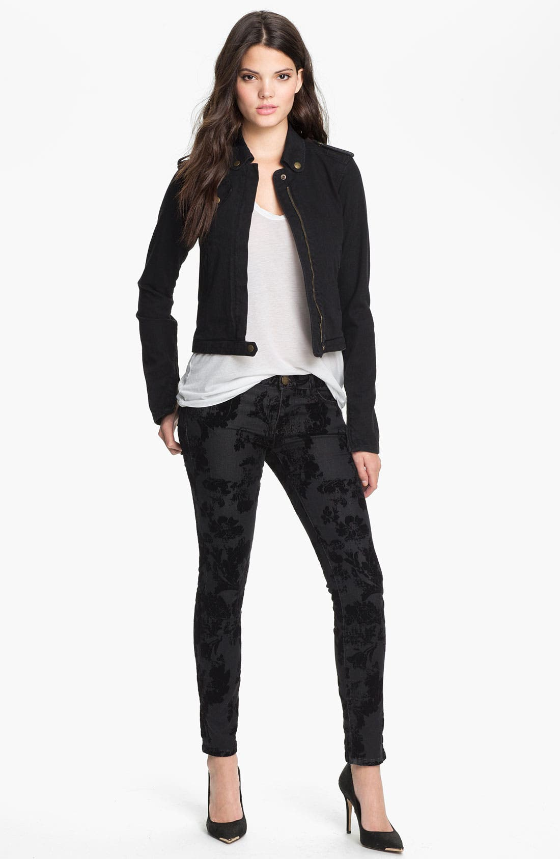 Alternate Image 4  - Current/Elliott Ankle Zip Skinny Jeans (Black Velvet Floral)