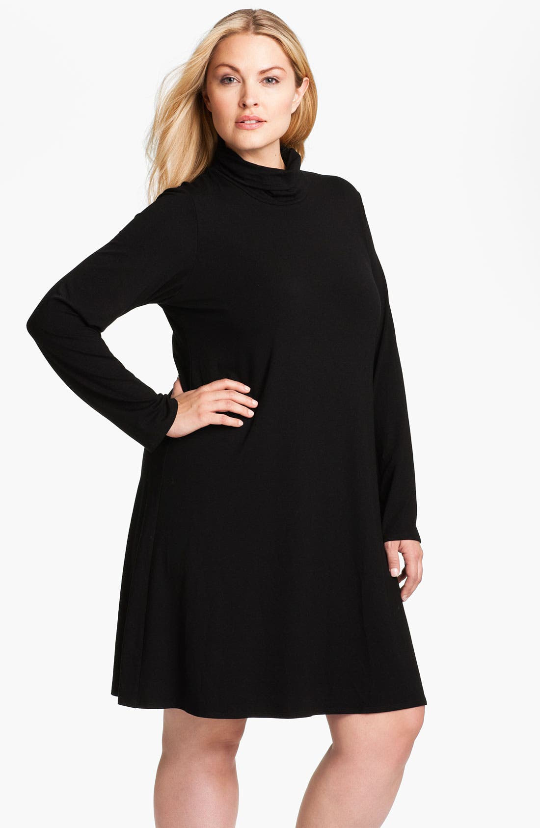 Main Image - Eileen Fisher Scrunch Neck Dress (Plus)