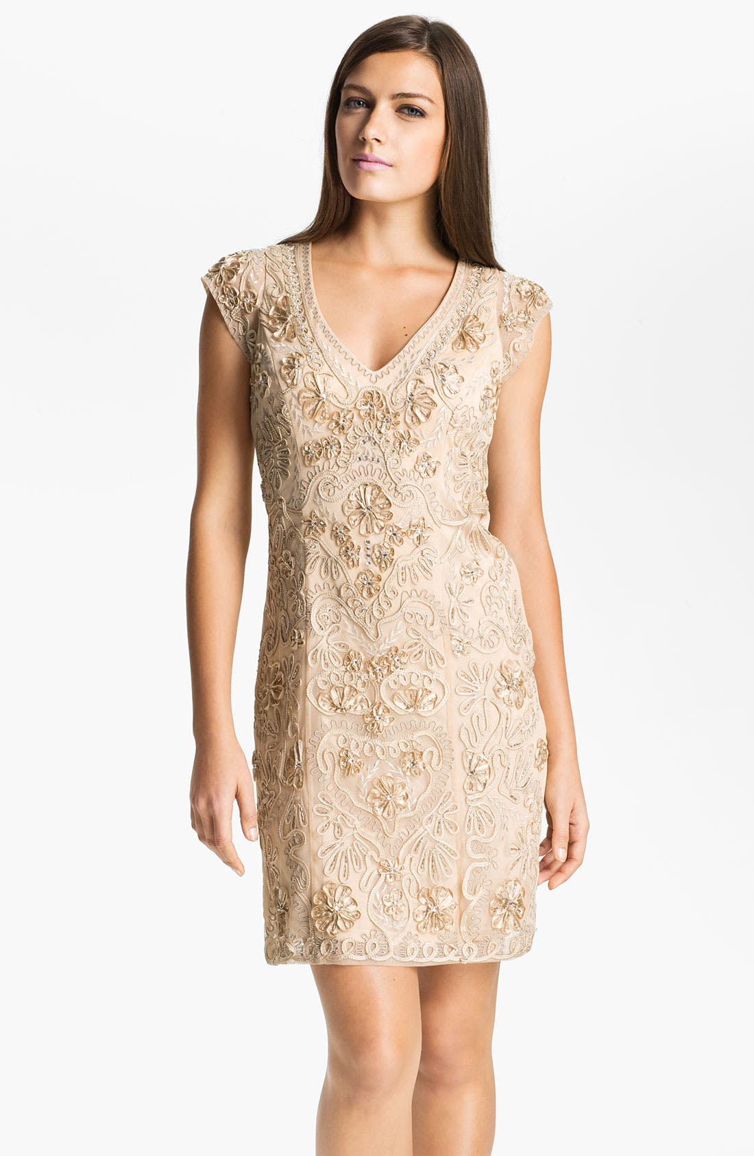 Main Image - Sue Wong Embellished Illusion Back Sheath Dress