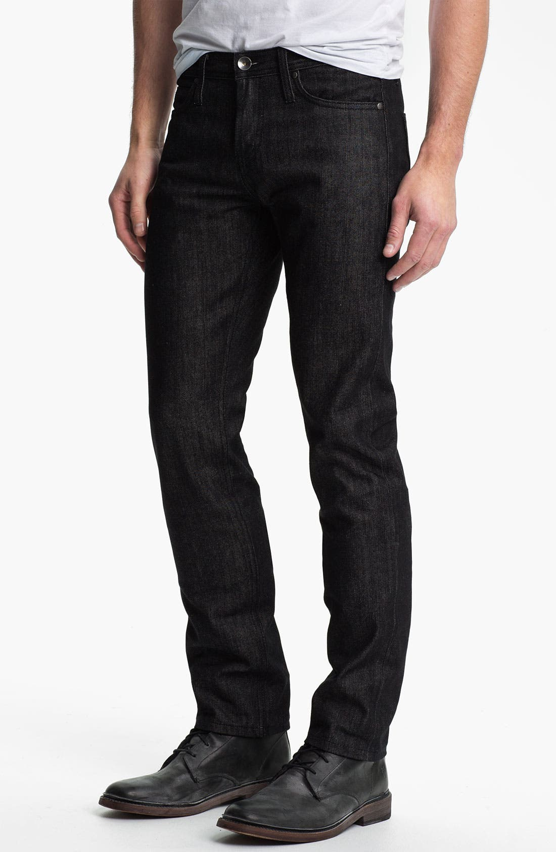 Alternate Image 2  - The Unbranded Brand Skinny Fit Selvedge Jeans (Black)