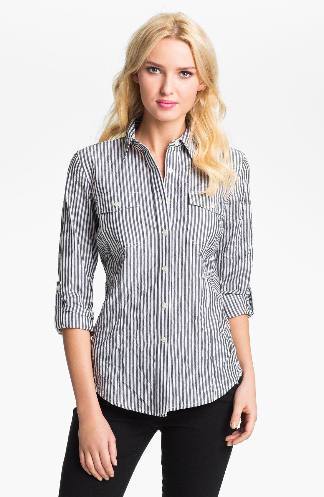 Alternate Image 1 Selected - MICHAEL Michael Kors Roll Sleeve Stripe Shirt