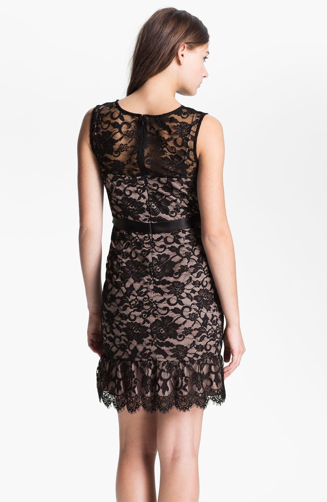 Alternate Image 2  - Xscape Scalloped Trim Lace Overlay Sheath Dress