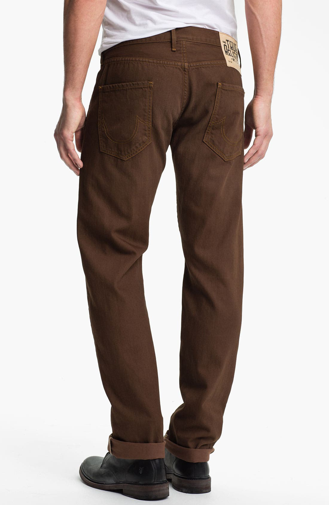 Alternate Image 1 Selected - True Religion Brand Jeans 'Geno Blue Collar Crossroads' Slim Straight Leg Jeans (Kona Brown)