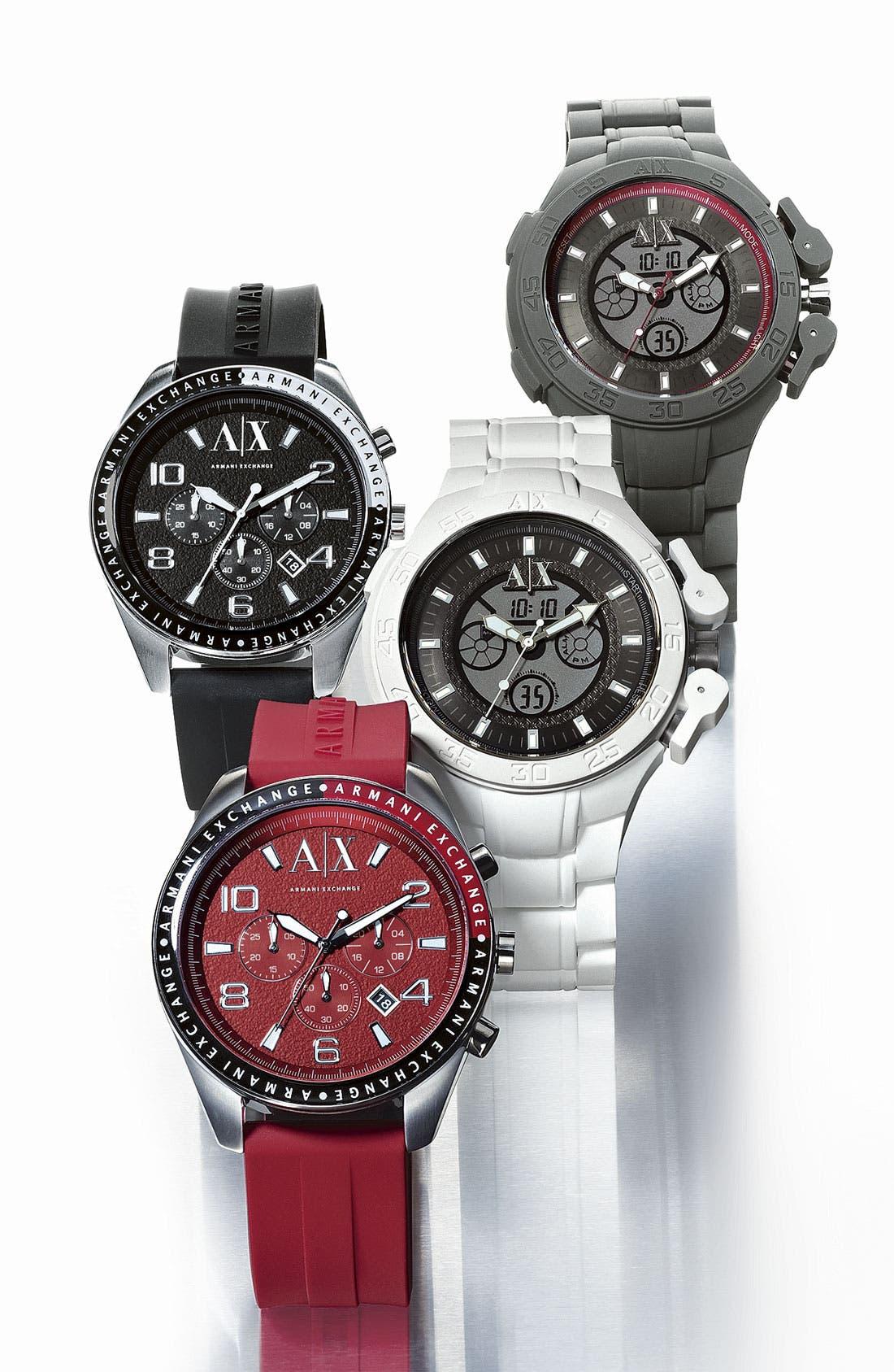 Alternate Image 2  - AX Armani Exchange Round Silicone Strap Watch