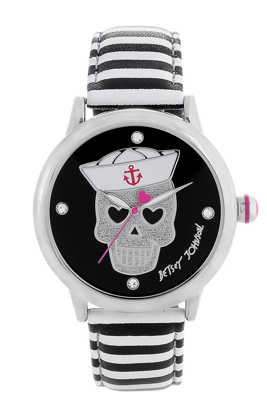 Alternate Image 1 Selected - Betsey Johnson Sailor Skull Dial Watch