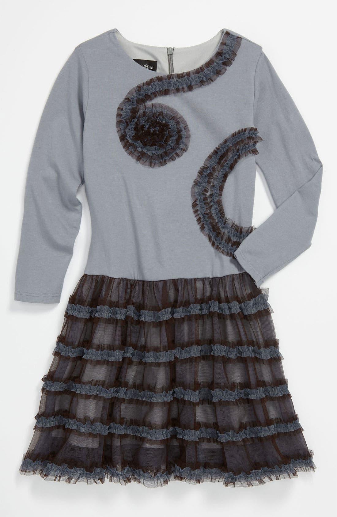 Main Image - Isobella & Chloe 'Blue Moon' Mesh Ruffle Dress (Little Girls & Big Girls)