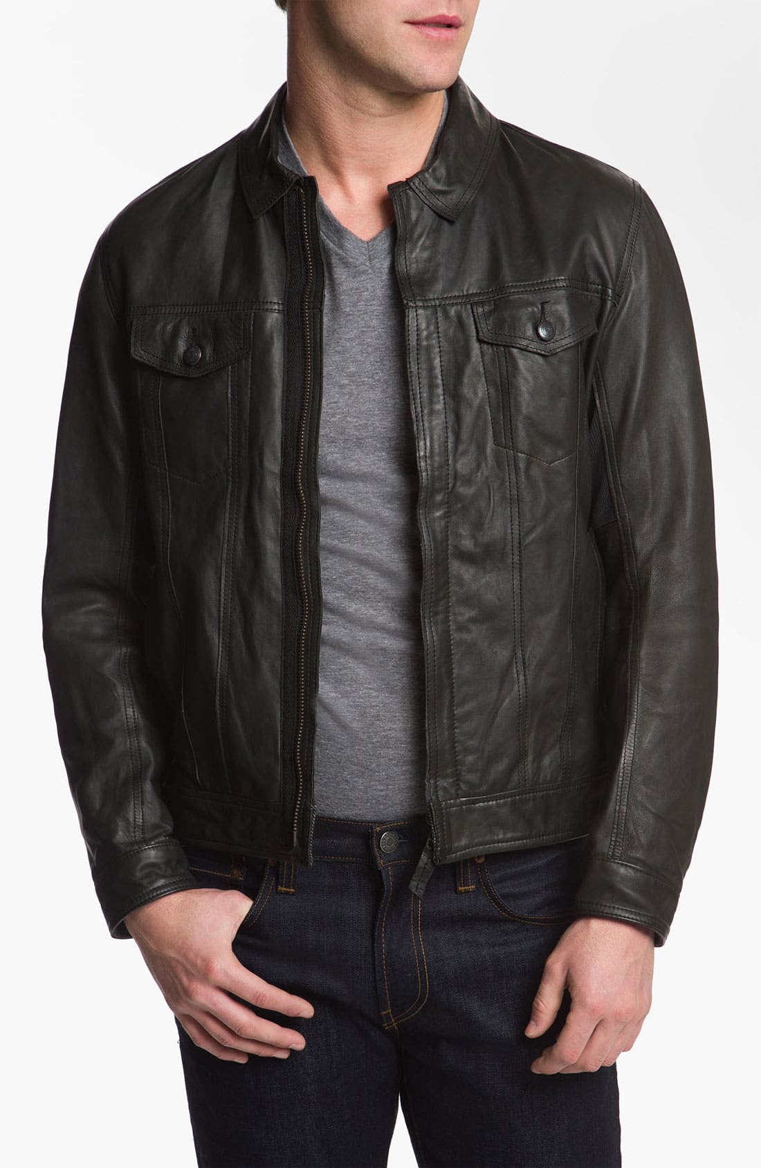 Main Image - Edun 'Classic' Leather Moto Jacket