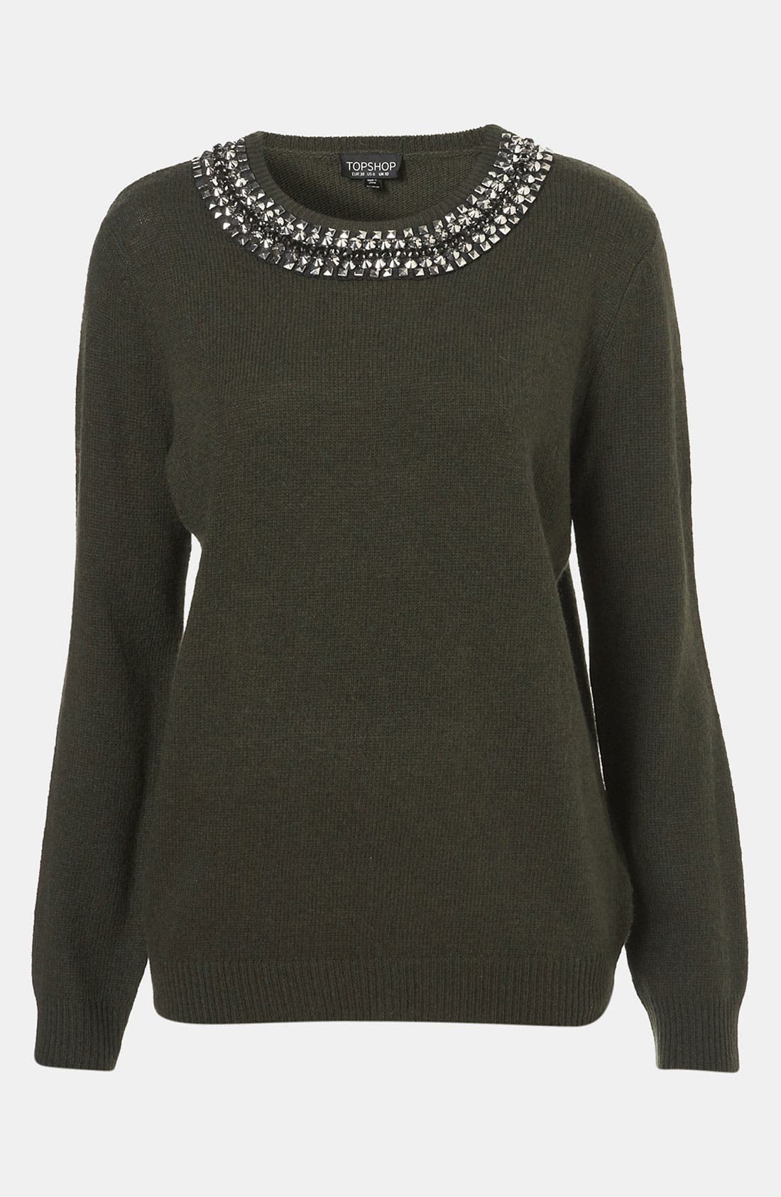 Main Image - Topshop Rhinestone Trim Sweater