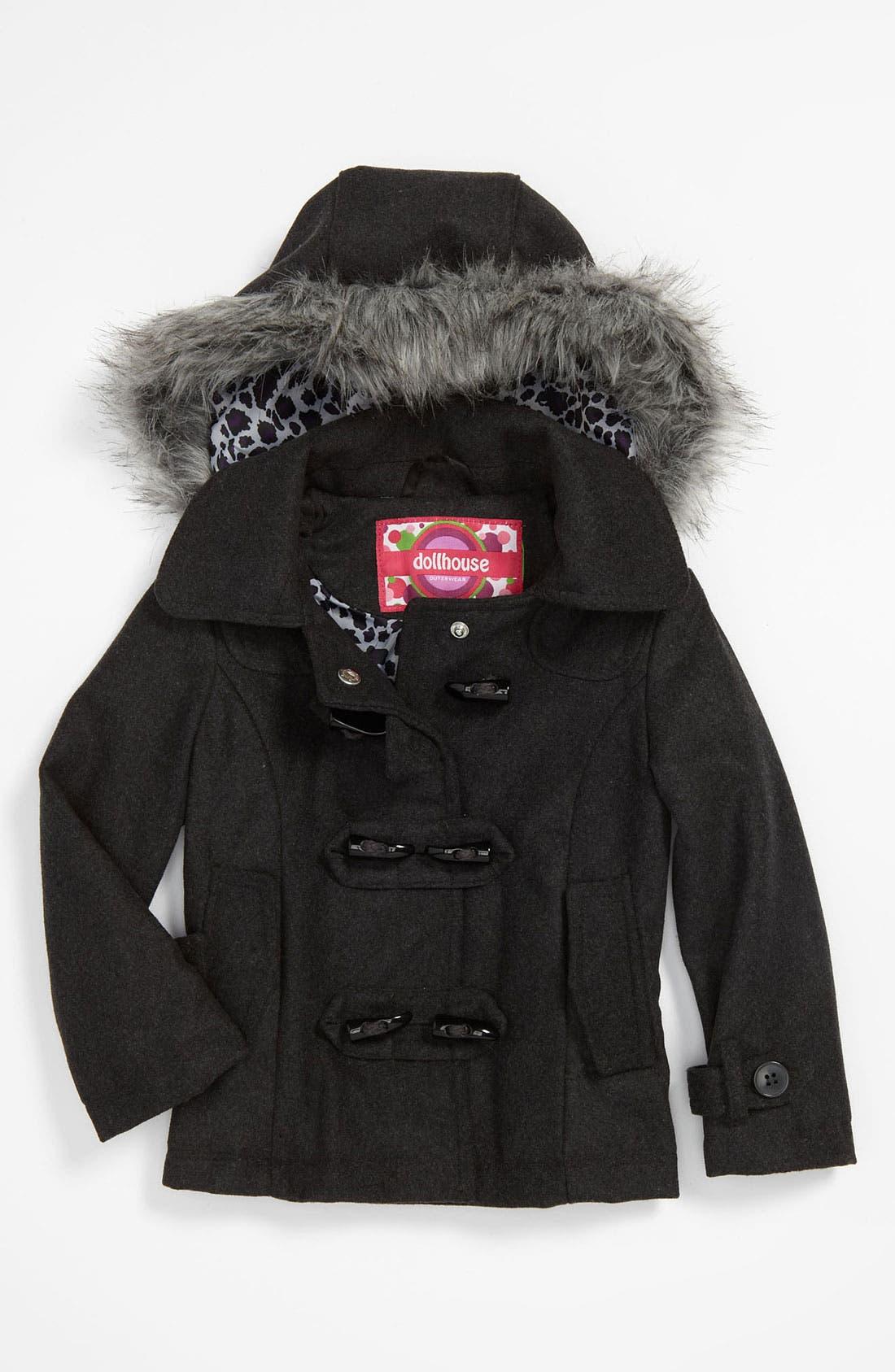Main Image - Dollhouse Faux Fur Trim Peacoat (Toddler)