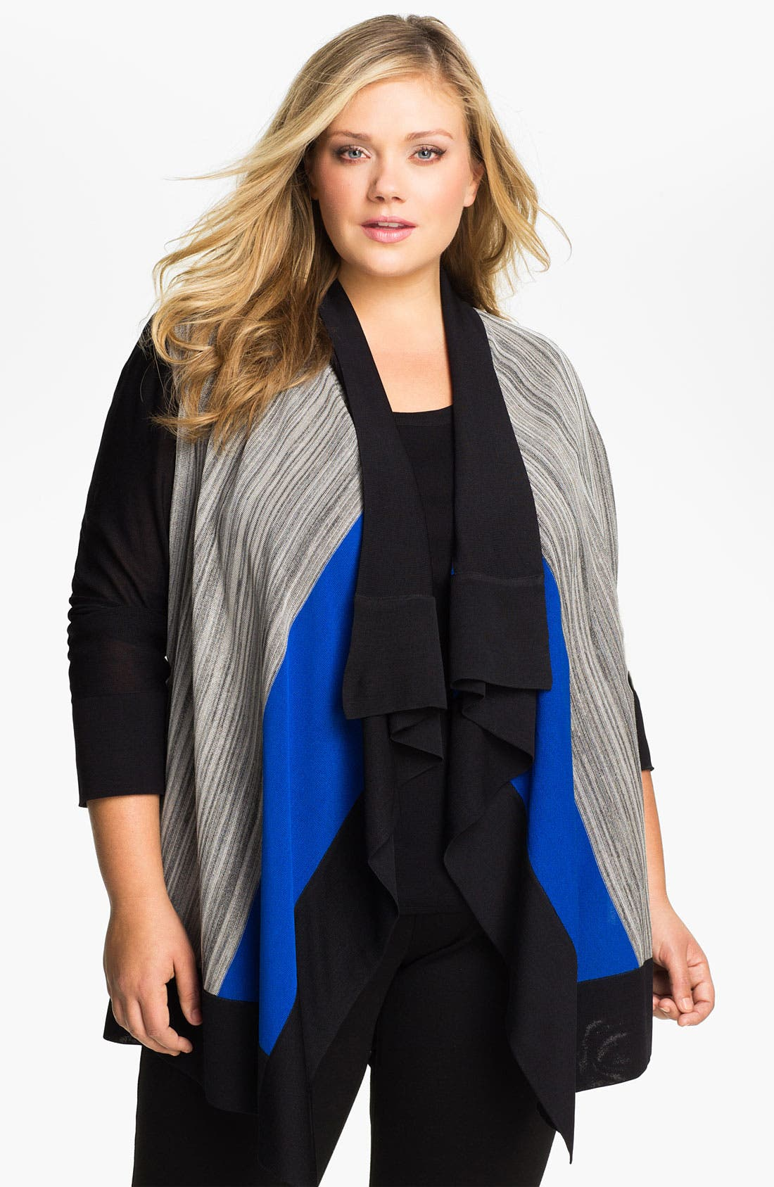 Alternate Image 1 Selected - Exclusively Misook Drape Front Cardigan (Plus)
