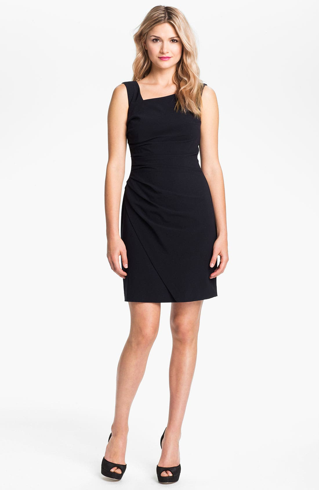 Alternate Image 1 Selected - Suzi Chin for Maggy Boutique Ruched Asymmetrical Crepe Sheath Dress