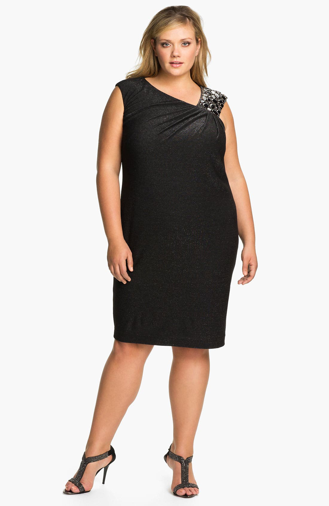 Alternate Image 1 Selected - Adrianna Papell Beaded Shoulder Jersey Shift Dress (Plus)