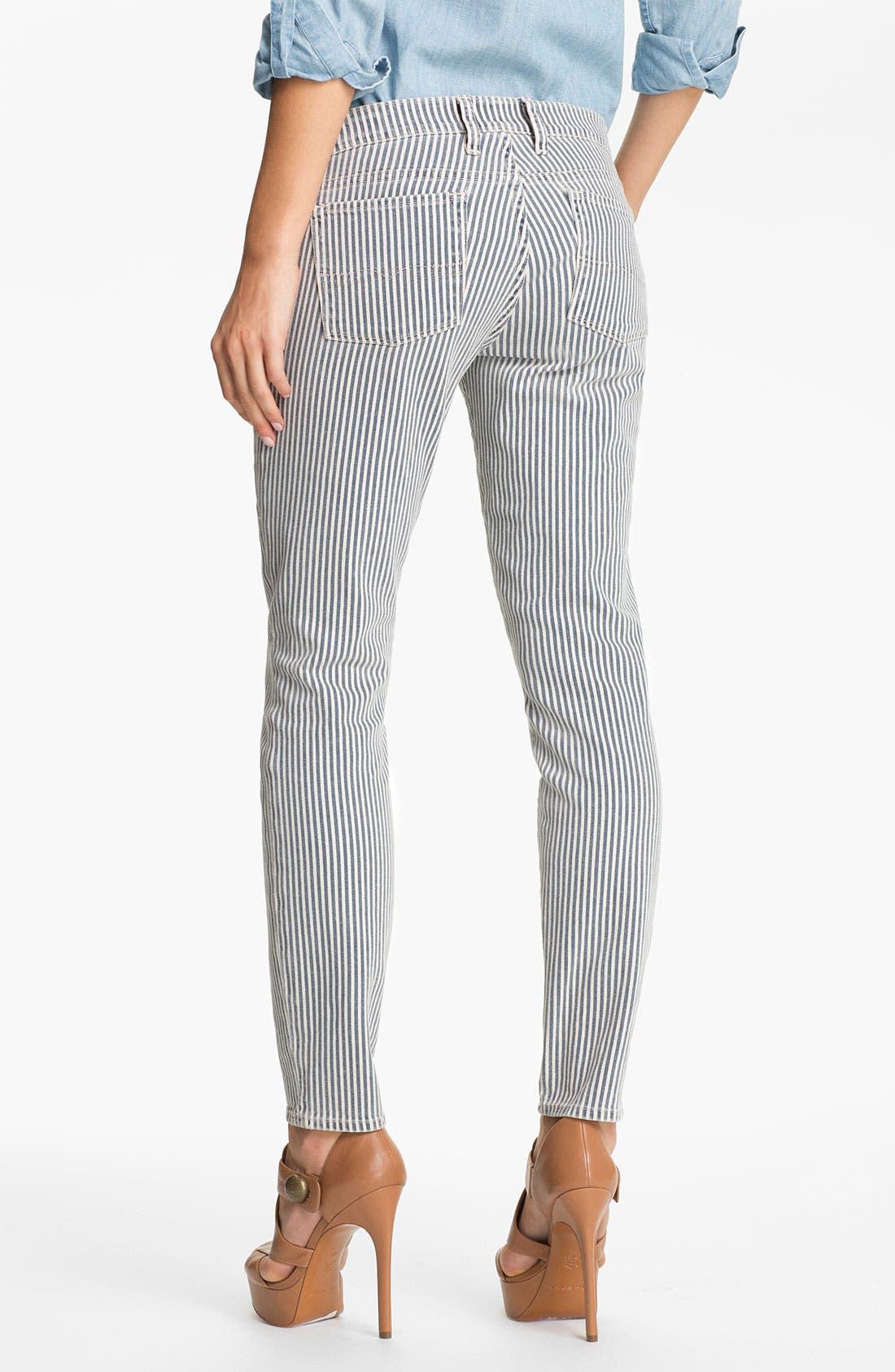 Alternate Image 2  - Lucky Brand 'Charlie' Stripe Skinny Jeans