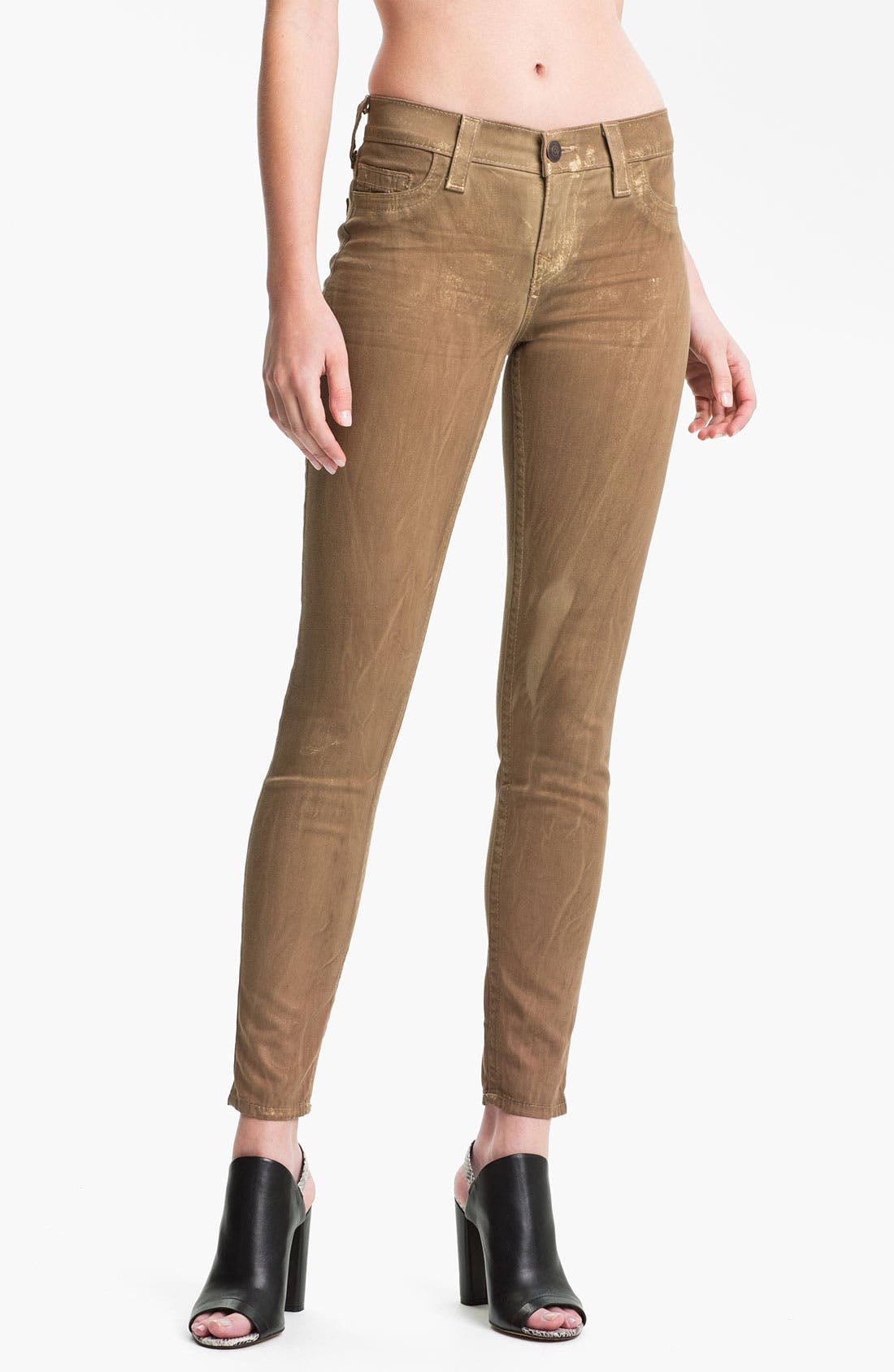 Main Image - True Religion Brand Jeans 'Halle' Skinny Stretch Jeans (Metallic Gold)