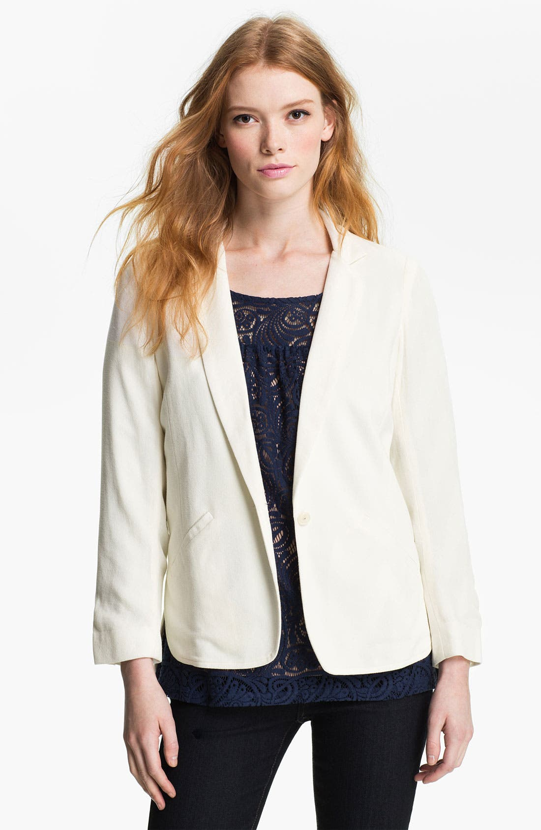 Alternate Image 1 Selected - Ella Moss 'Mazzy' Curved Hem Blazer