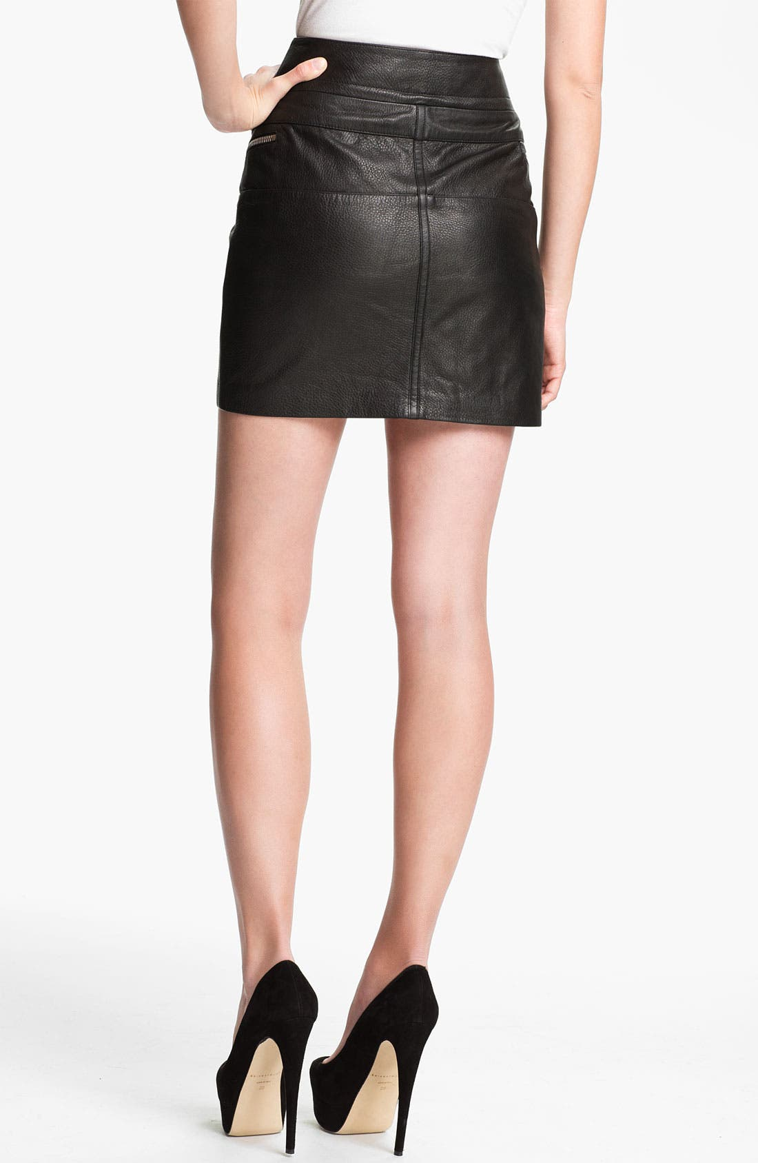 Alternate Image 2  - McQ by Alexander McQueen Double Zip Leather Skirt