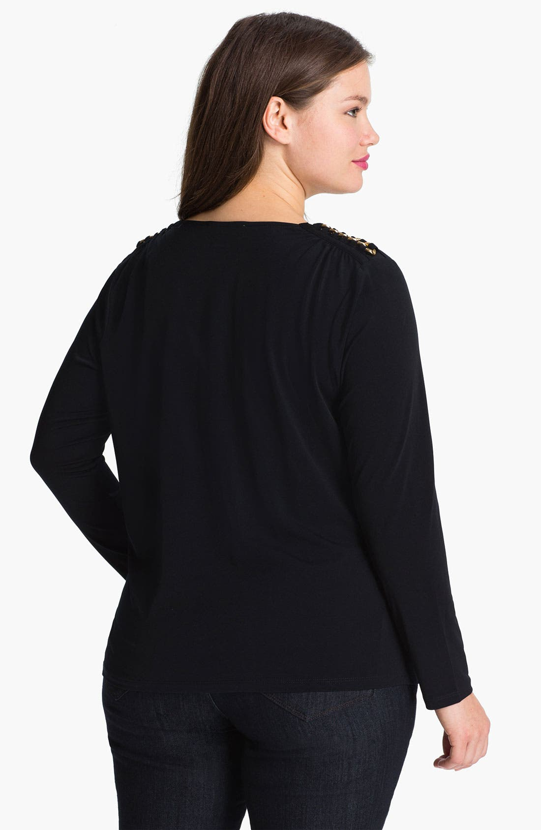 Alternate Image 2  - MICHAEL Michael Kors Chain Shoulder Drape Neck Top (Plus)