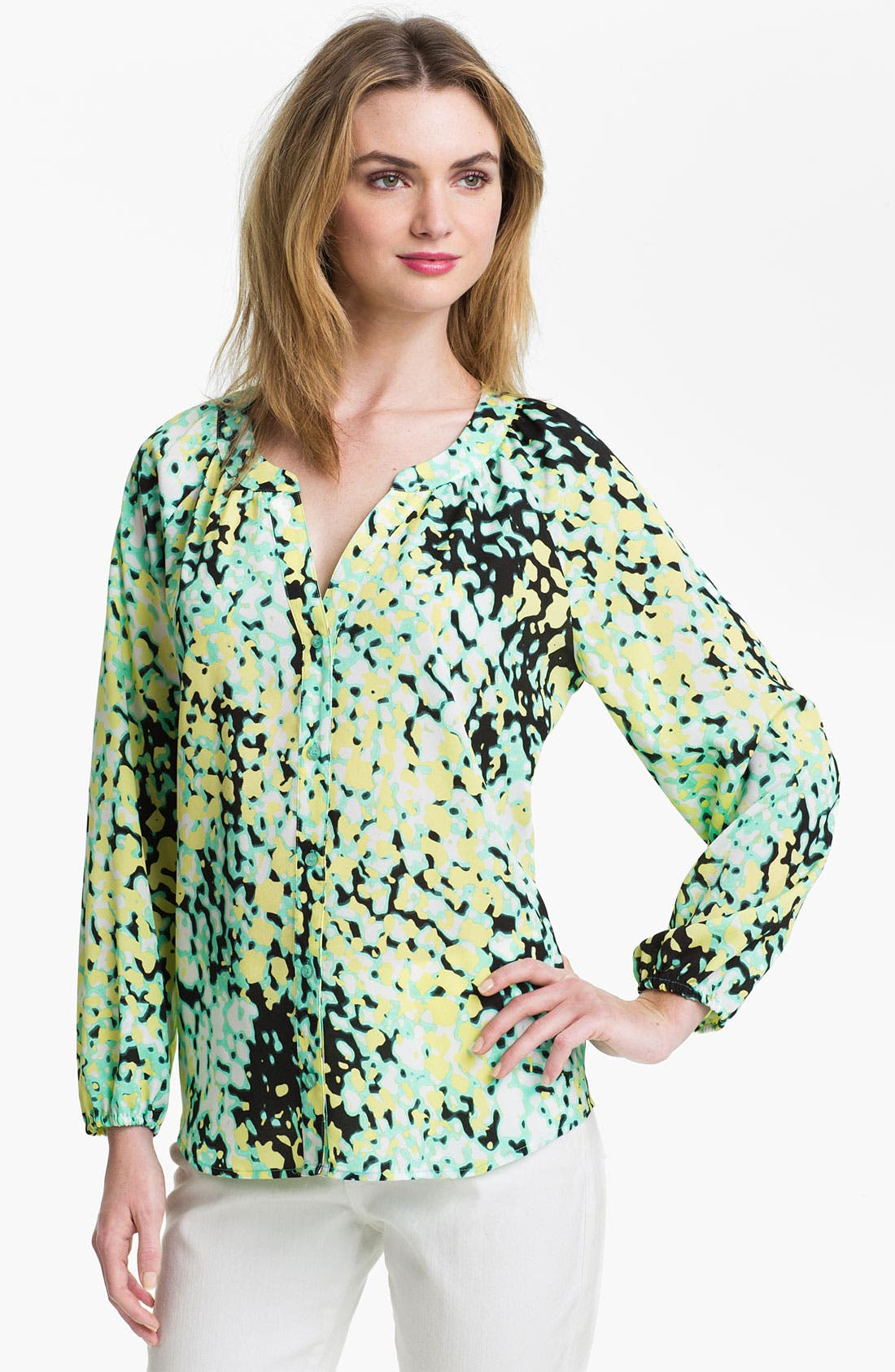Main Image - Calvin Klein Split Neck Print Blouse