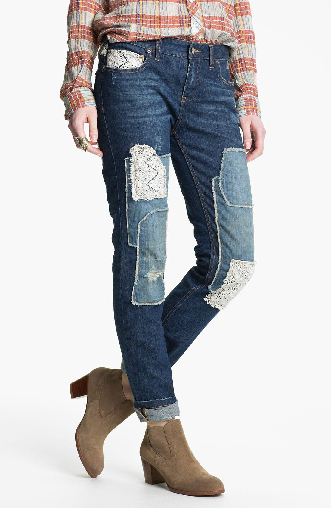 Main Image - Free People Patchwork Skinny Stretch Jeans (Haynes)