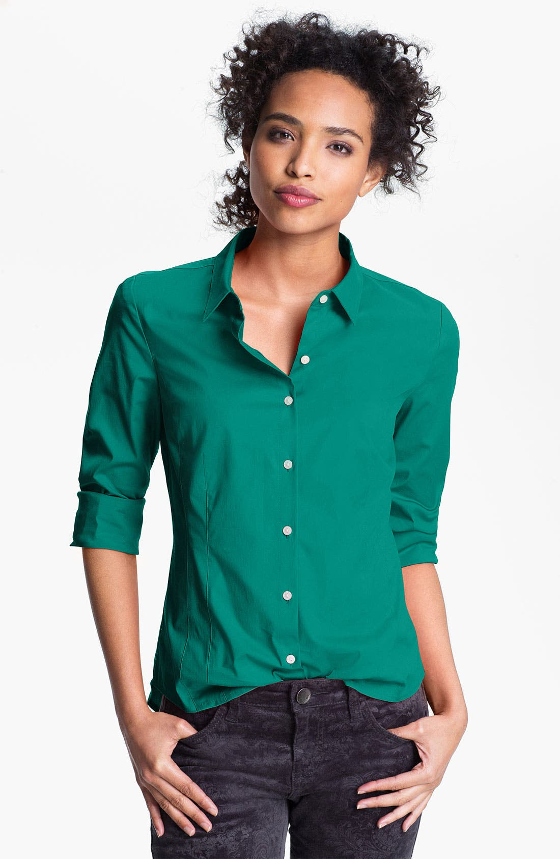 Alternate Image 1 Selected - Halogen® Stretch Cotton Shirt