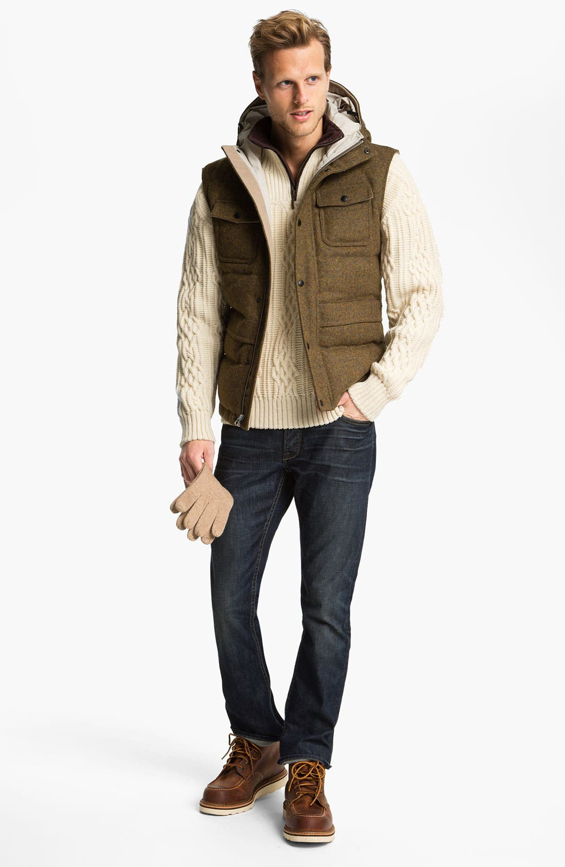Alternate Image 4  - Hunter Hooded Wool Vest with Down Fill
