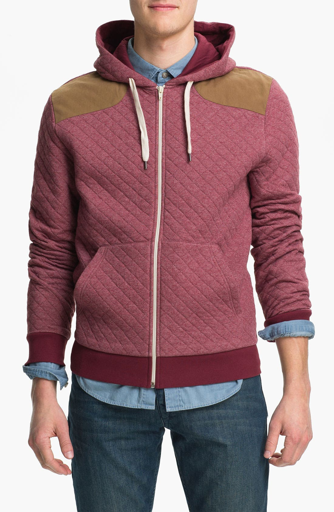 Alternate Image 1 Selected - Topman Quilted Zip Hoodie
