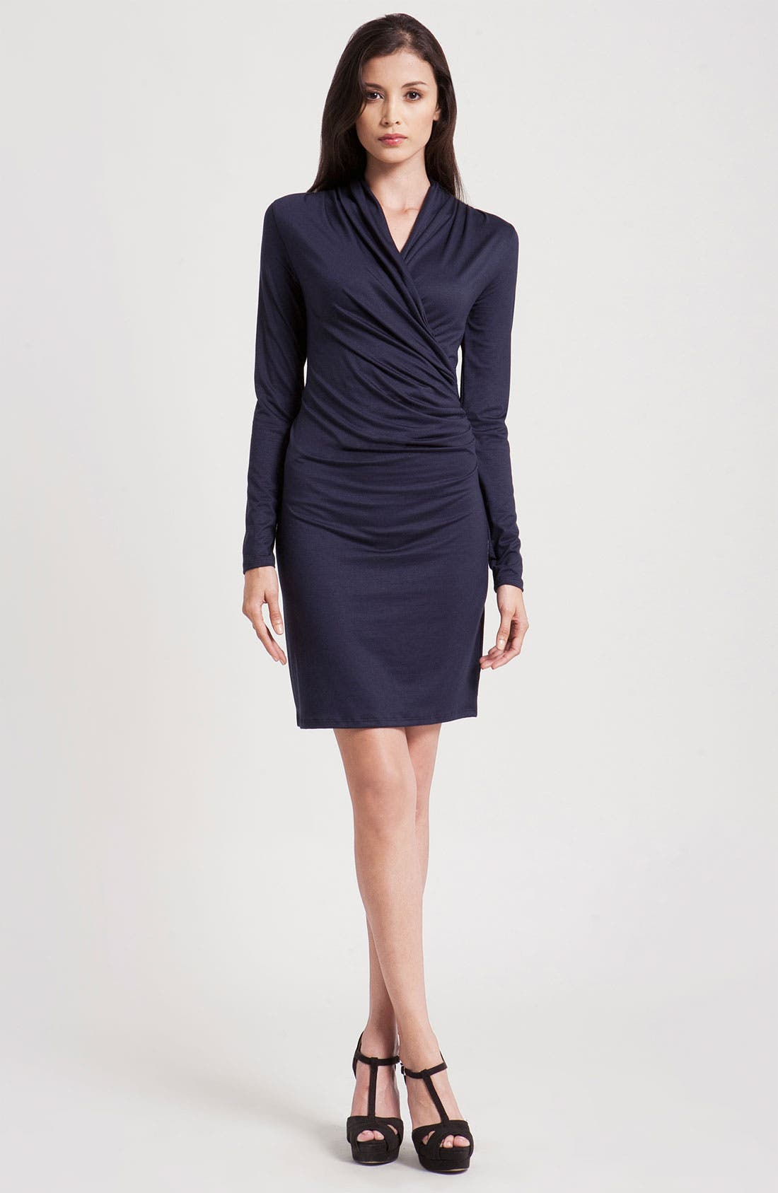 Alternate Image 1 Selected - Three Dots Long Sleeve Faux Wrap Dress