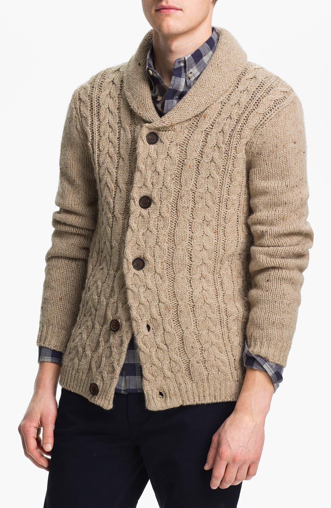 Main Image - Topman Cable Knit Shawl Collar Cardigan