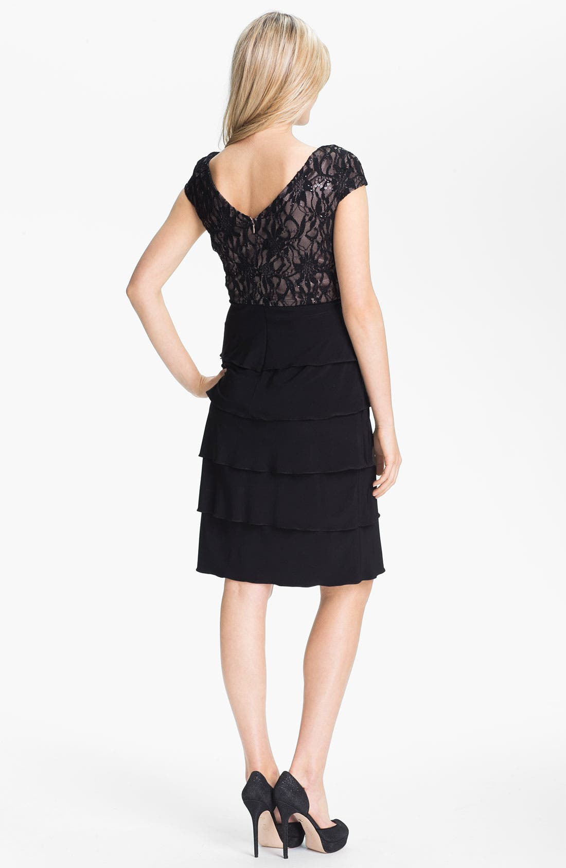 Alternate Image 2  - Patra Embellished Lace Tiered Jersey Dress