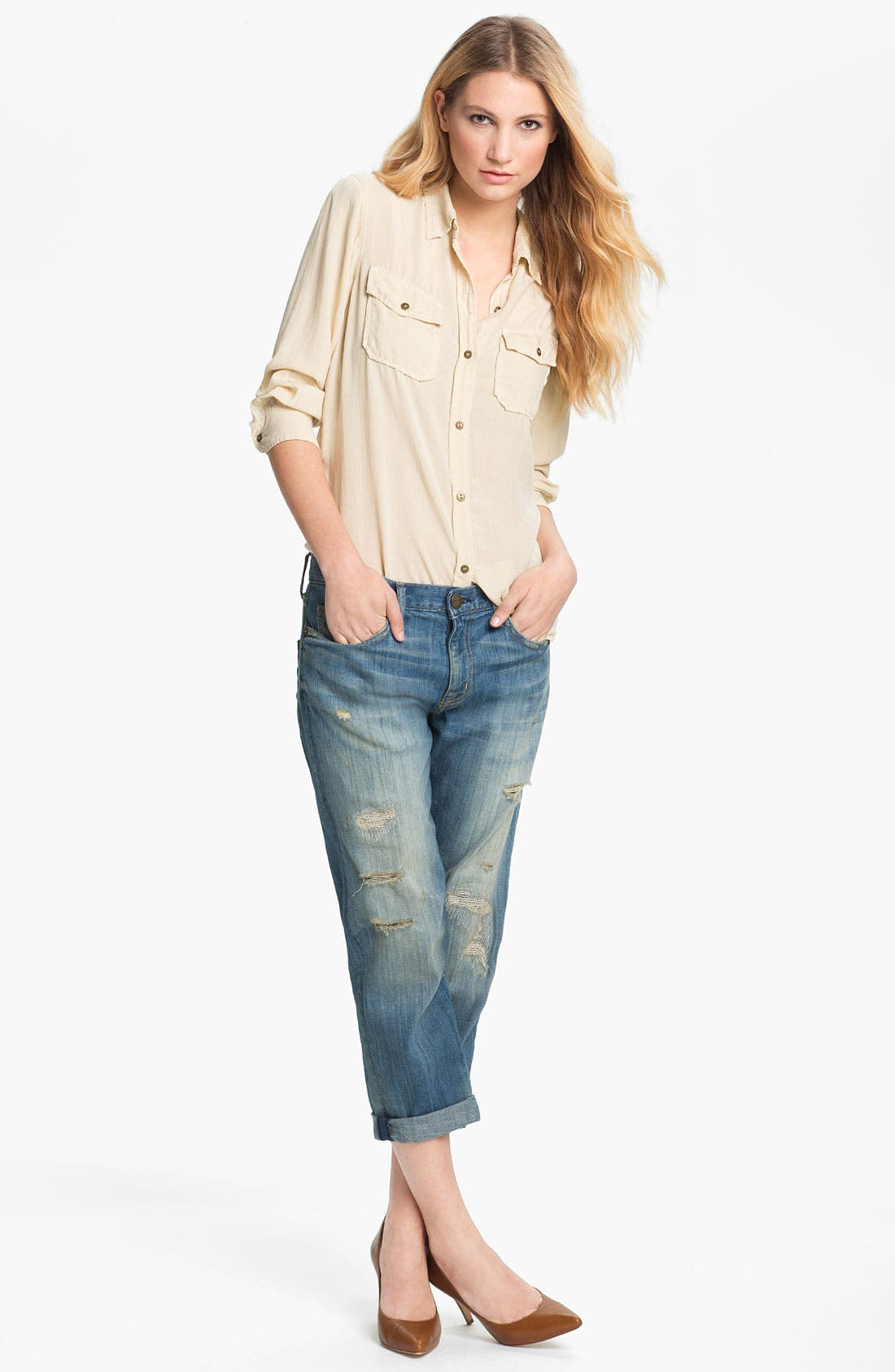 Alternate Image 4  - Current/Elliott 'The Boyfriend Jean' Stretch Jeans (Panhandle with Repair)
