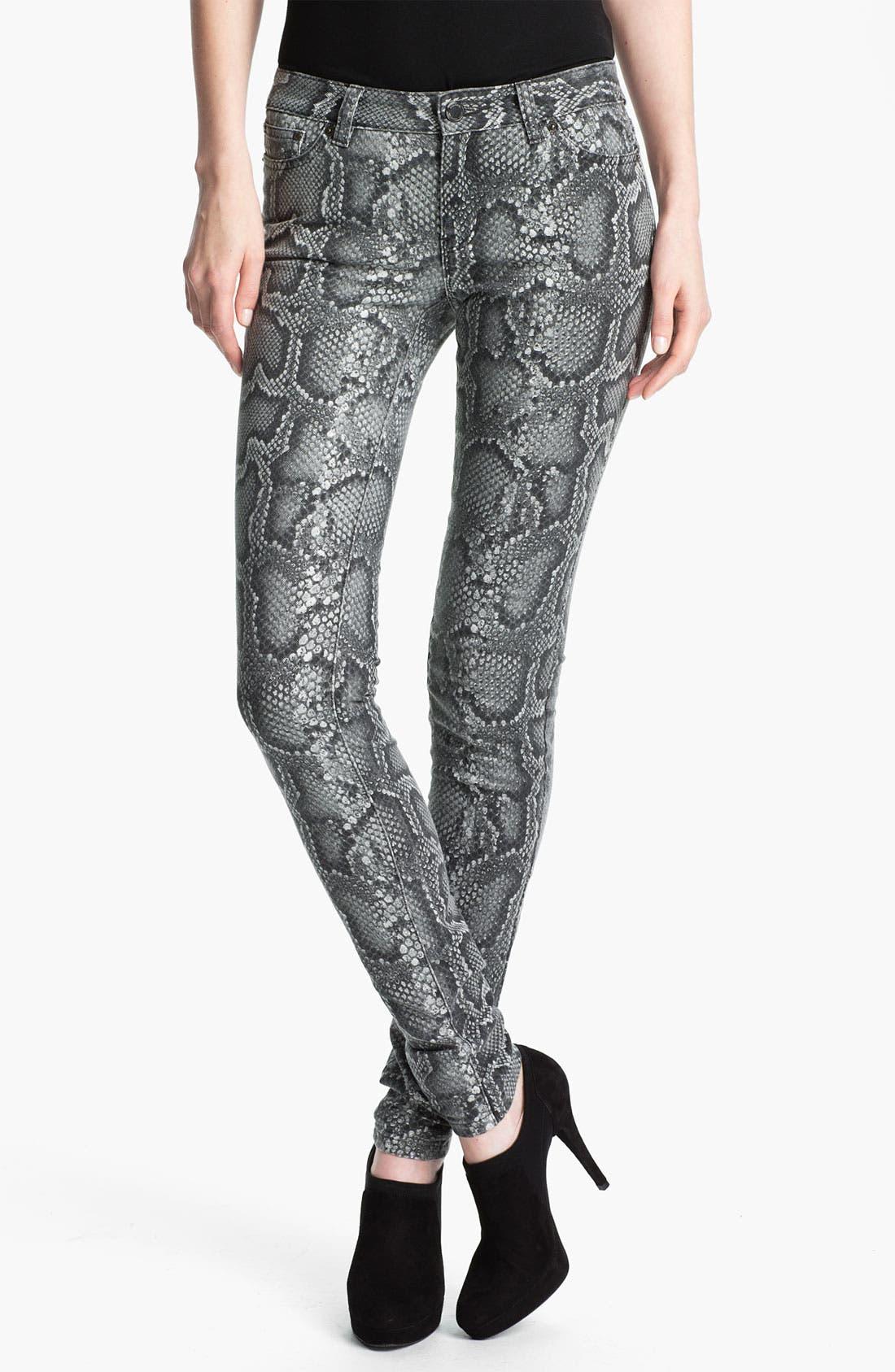 Alternate Image 1 Selected - MICHAEL Michael Kors Cobra Print Skinny Jeans (Petite)