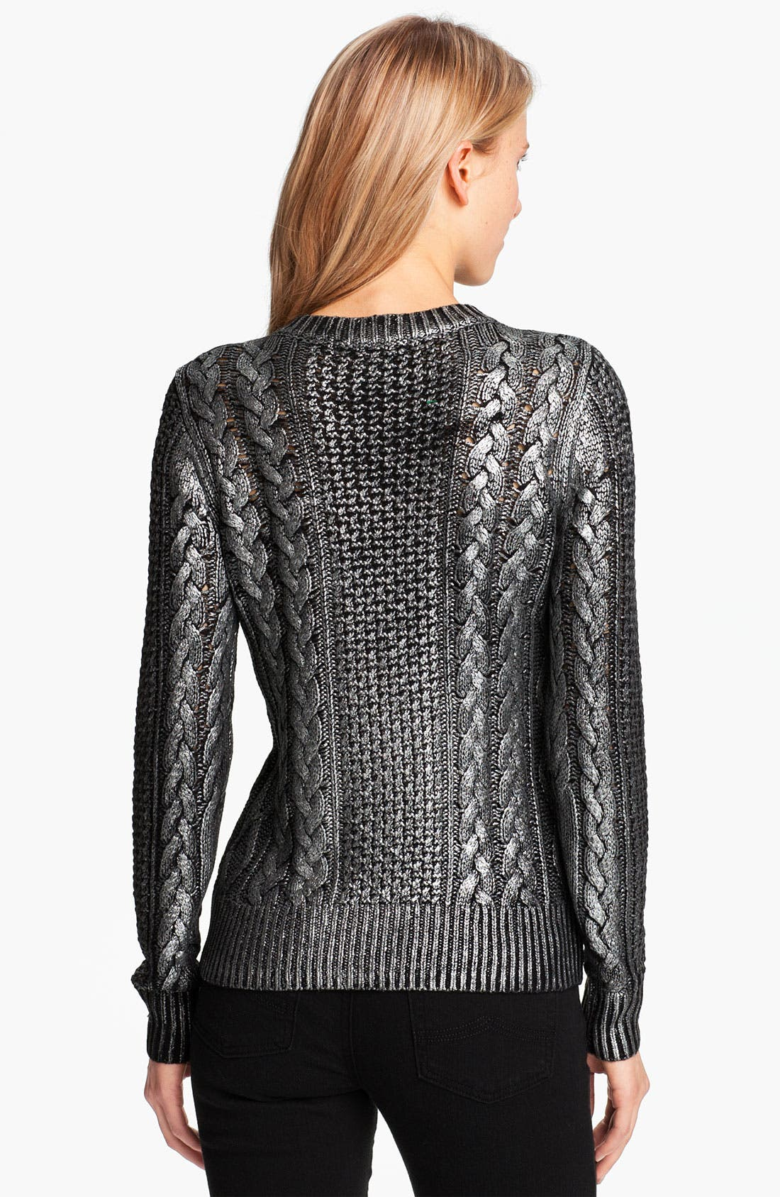 Alternate Image 2  - MICHAEL Michael Kors Foiled Fisherman's Knit Sweater (Petite)