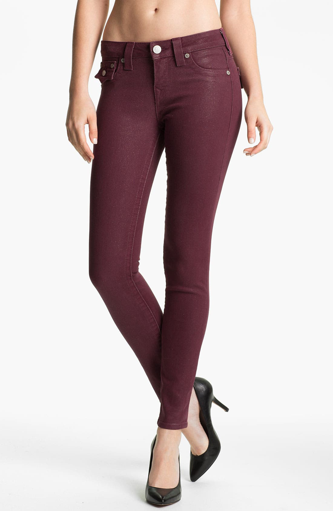 Main Image - True Religion Brand Jeans 'Serena' Coated Skinny Leg Jeans (Maroon)