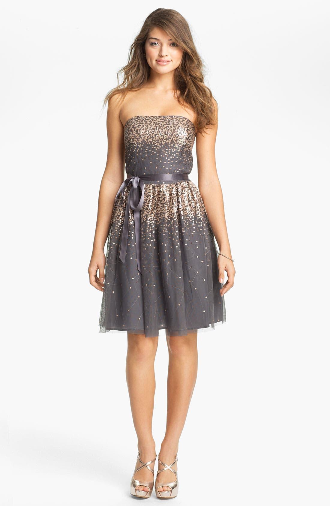 Alternate Image 1 Selected - Eliza J Embellished Tulle Fit & Flare Dress