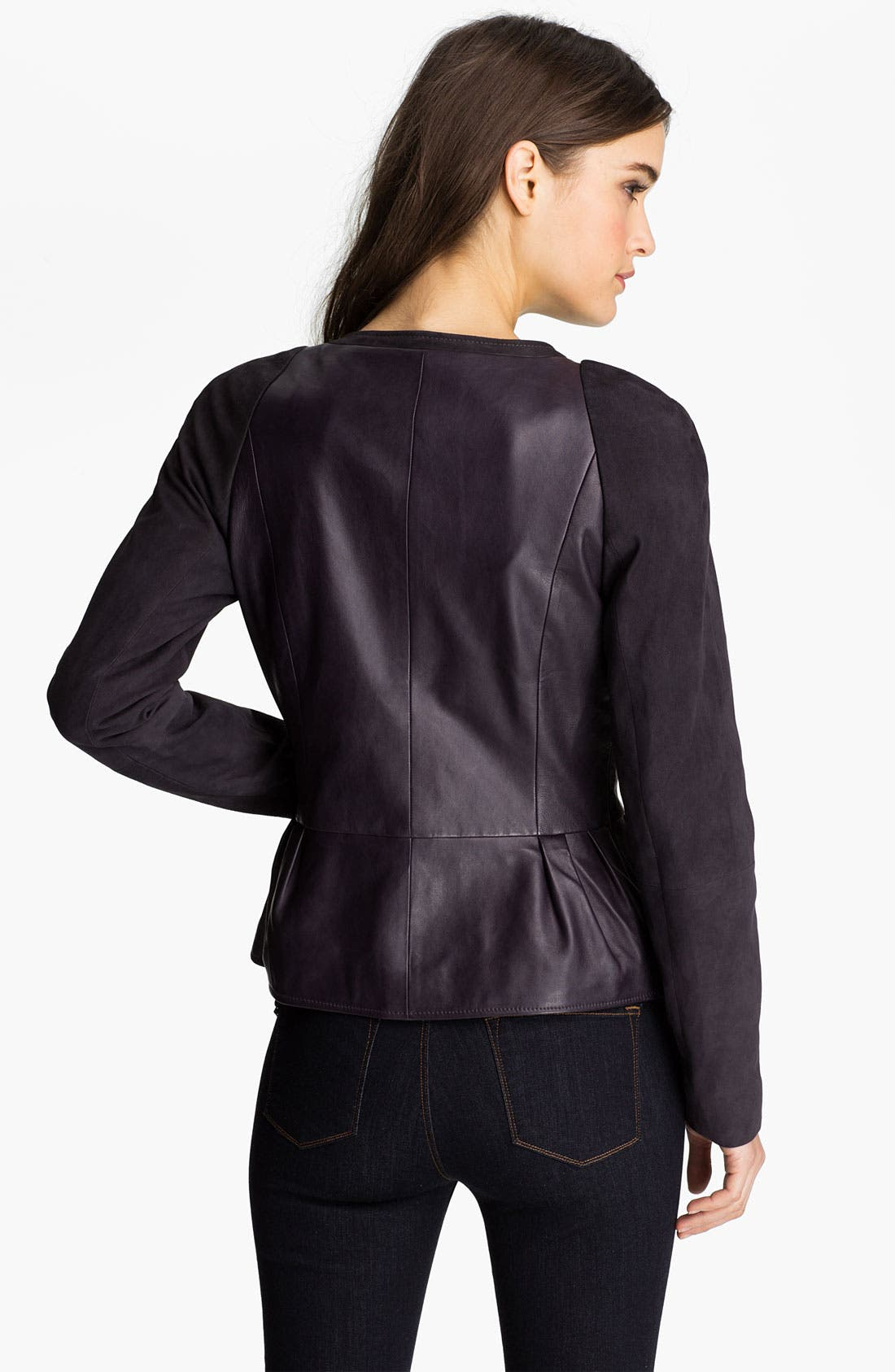 Alternate Image 2  - Hinge® Leather & Suede Peplum Jacket