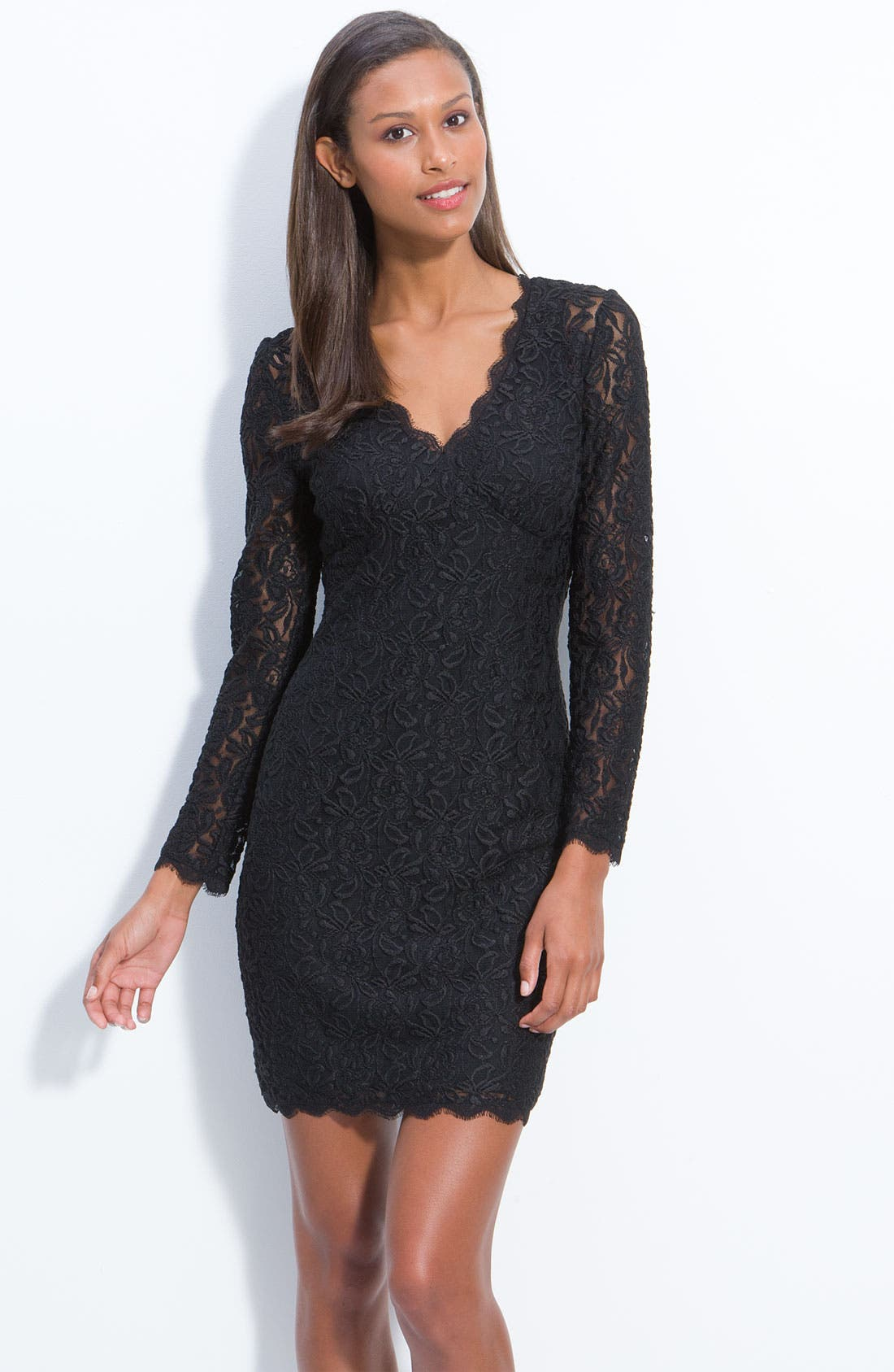 Main Image - Adrianna Papell Lace Overlay Sheath Dress (Petite)