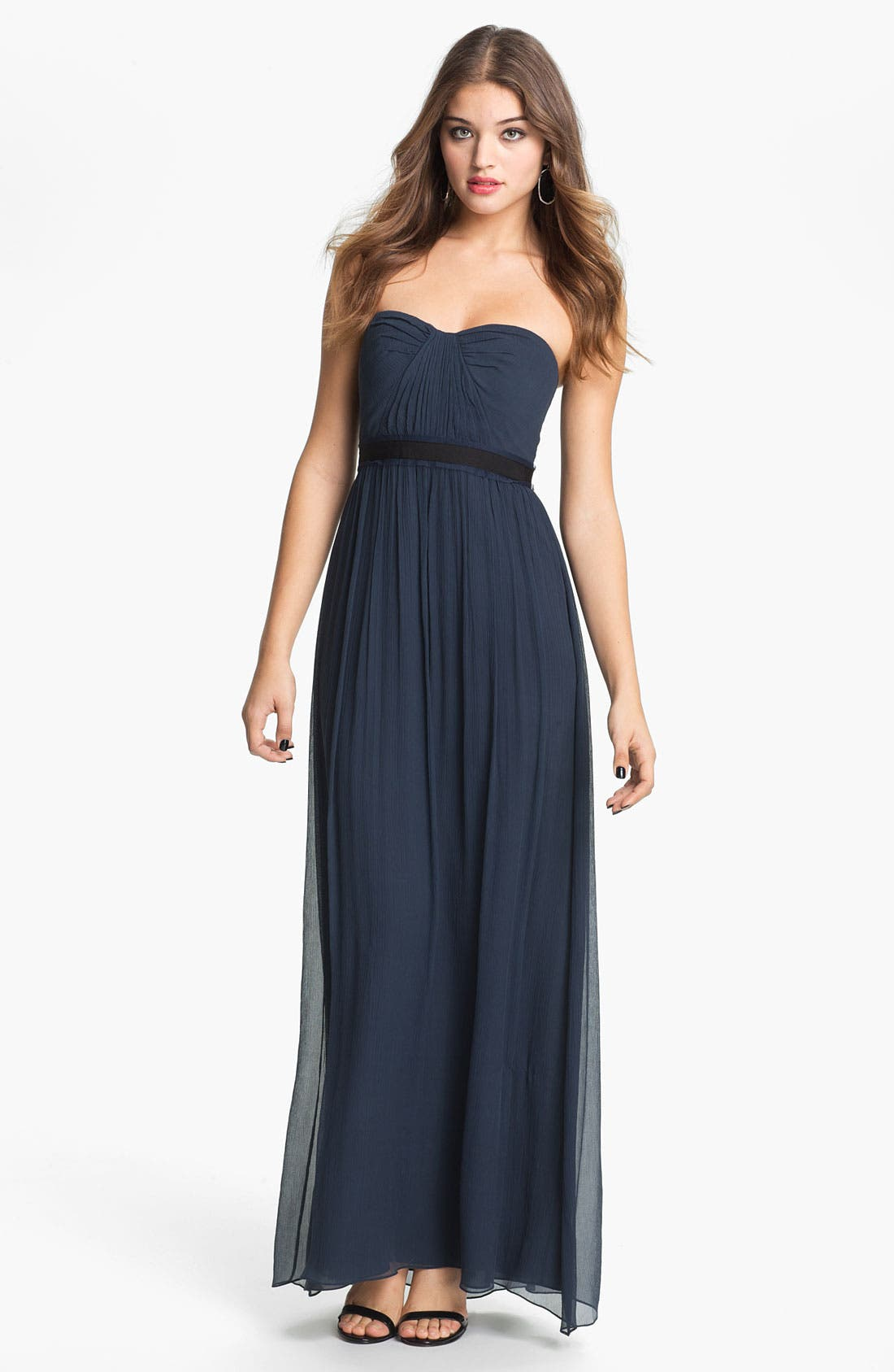 Alternate Image 1 Selected - BCBGMAXAZRIA Strapless Silk Chiffon Gown