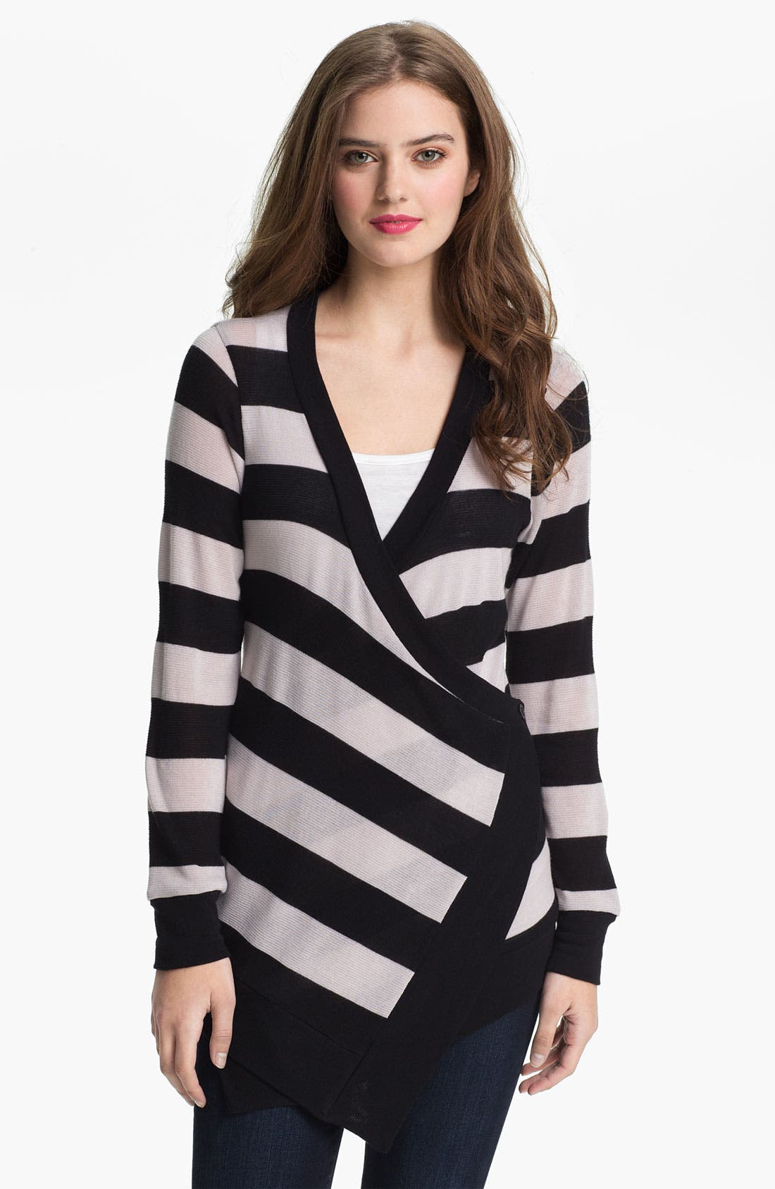 Alternate Image 1 Selected - Olivia Moon Asymmetrical Stripe Cardigan