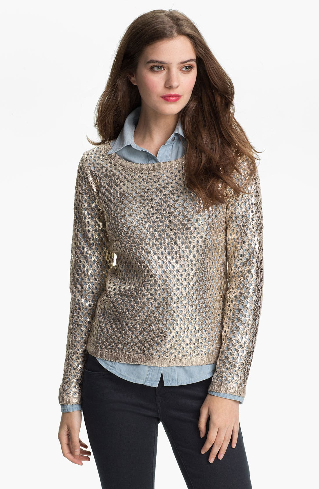 Main Image - Olive & Oak Coated Open Stitch Sweater (Online Exclusive)